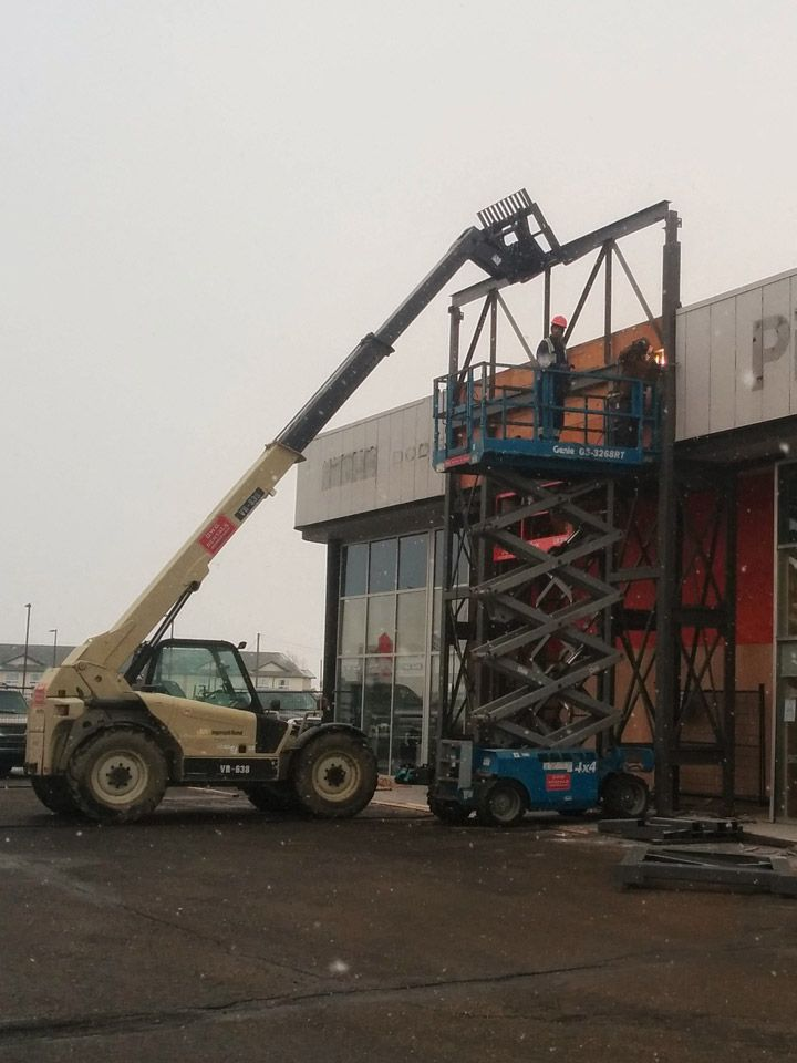 Entrance Tower Framing for Car Dealer